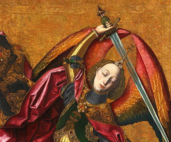 Detalle de San Miguel triunfante sobre el demonio con Antoni Joan Bartolomé Bermejo 1468 Londres, The National Gallery
