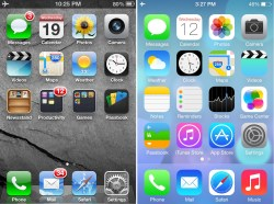(picture of ios6 vs ios7 )