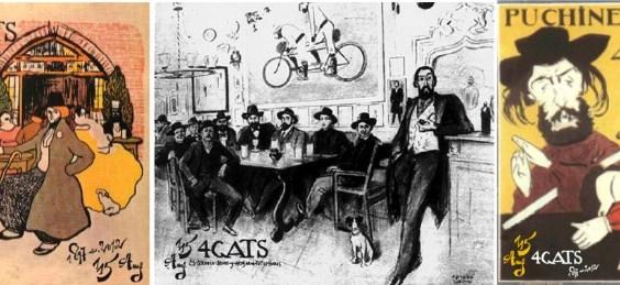 Cartell disenyat per Picasso per al menú, un retrat dels artistes fixes del local i el cartell de Puchinel·lis