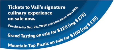 Purchase by Dec 24th and save more than 25% on Grand Tasting and Mountain Top Picnic