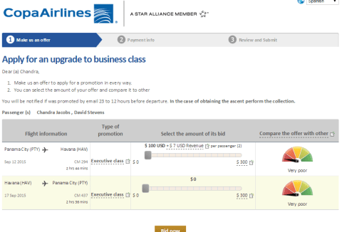 Copa Airlines Branded Fares Upsell