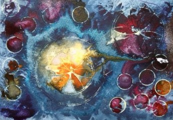 Claret and Moonlight Painting by Cathy Read