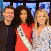 Miss USA 2019 Cheslie Kryst poses with Ryan Seacrest and Kelly Ripa during Live with Kelly & Ryan appearance