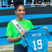 Miss USA 2019 Cheslie Kryst poses with her tournament jersey