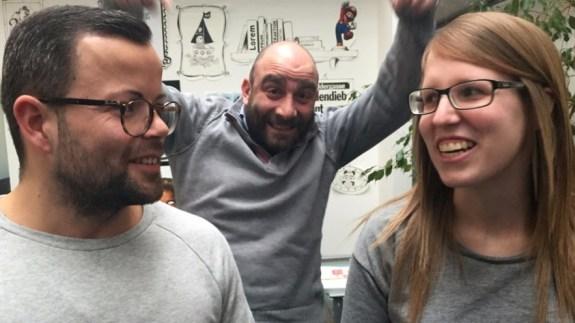 Das verantwortliche nexum-Team: Grafiker Benjamin Sudau (l.), Kreativdirektor Renato Piras, Grafikerin Melanie Cibura.