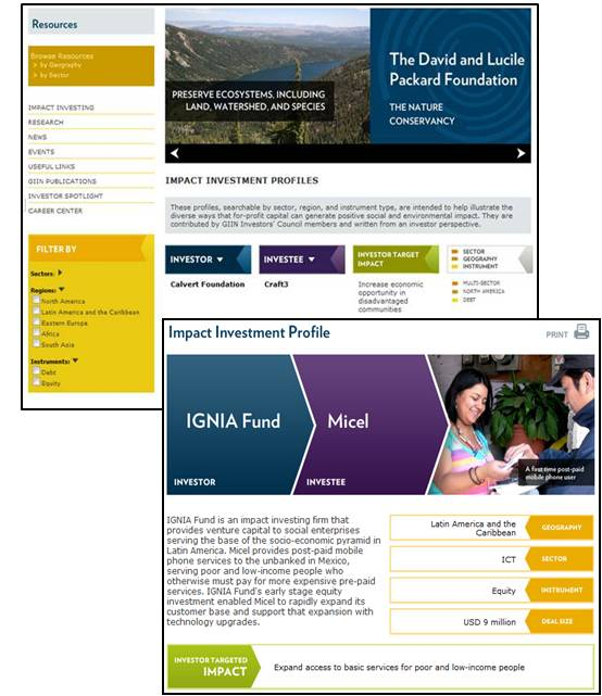 Impact Investment Profiles Landing Page