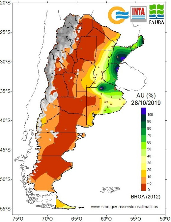 Water available in Argentina - October 2019