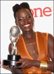 Lupita Nyong'o accepts her Supporting Actress award during the 45th Annual NAACP Image Awards