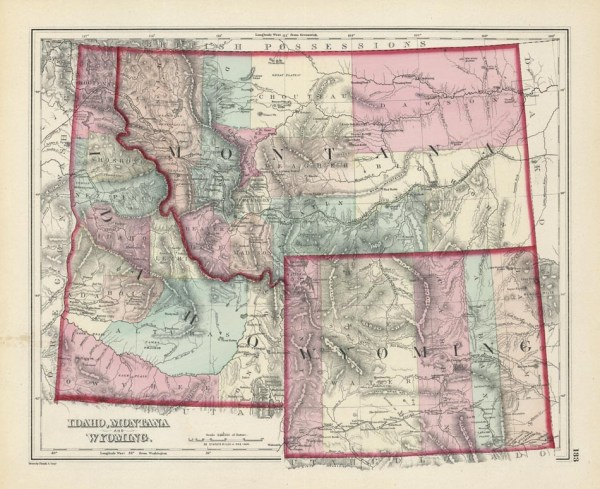 Gray39s Atlas Map of Idaho Montana And Wyoming The Old
