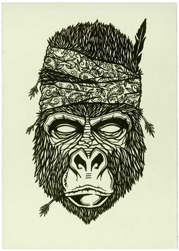Gorilla Line Drawing