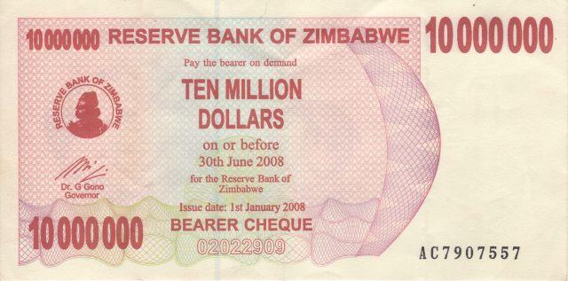 Zimbabwe 10,000,000-dollar note