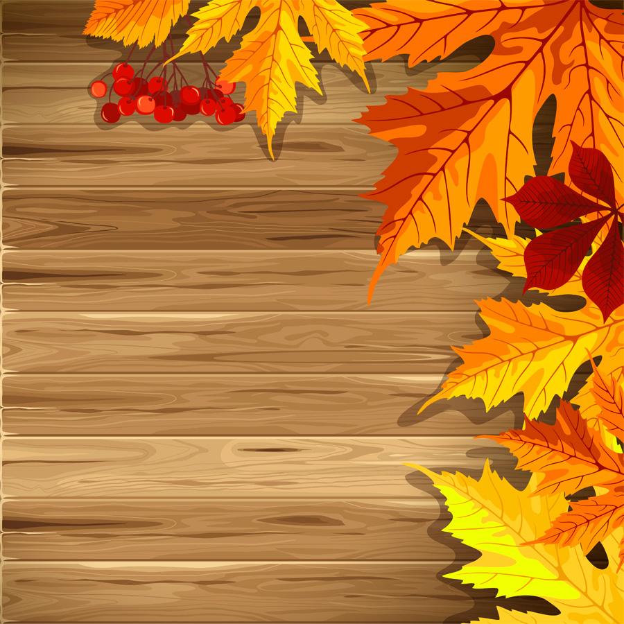 Wooden Background with Fall Leaves