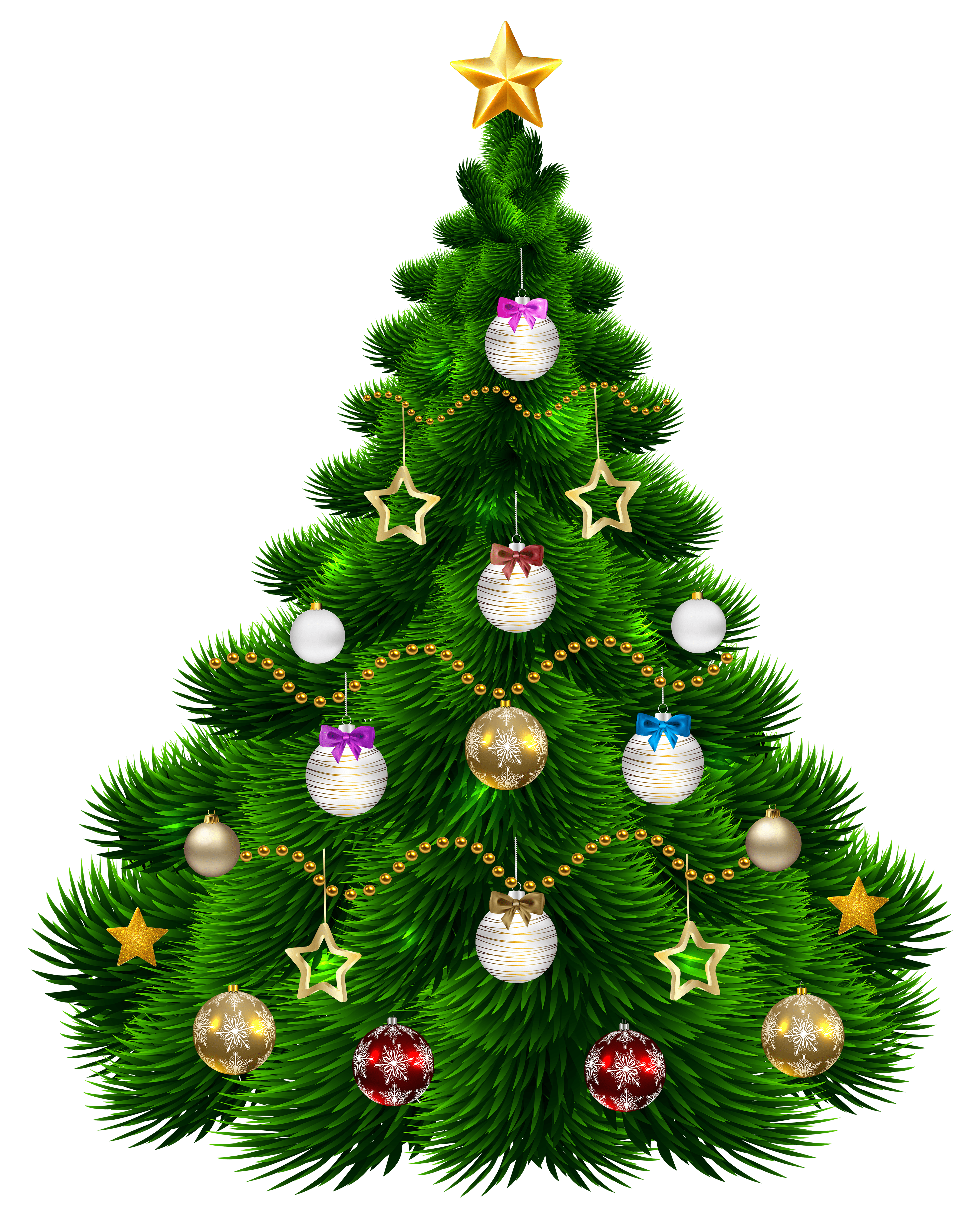 hight resolution of beautiful christmas tree with ornaments png clip art image