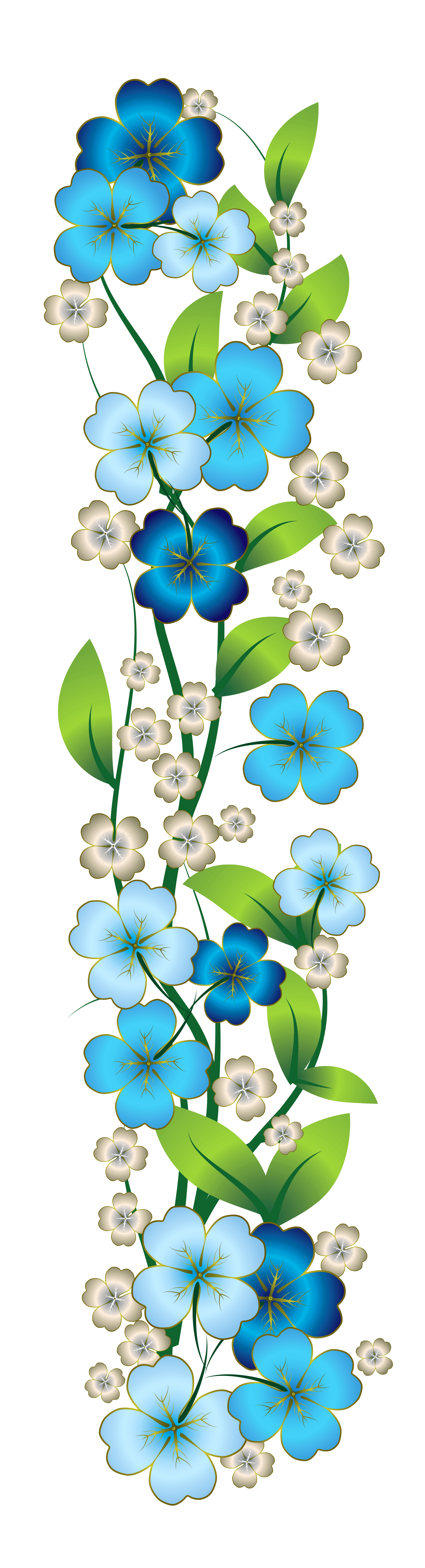 blue flower decor clipart
