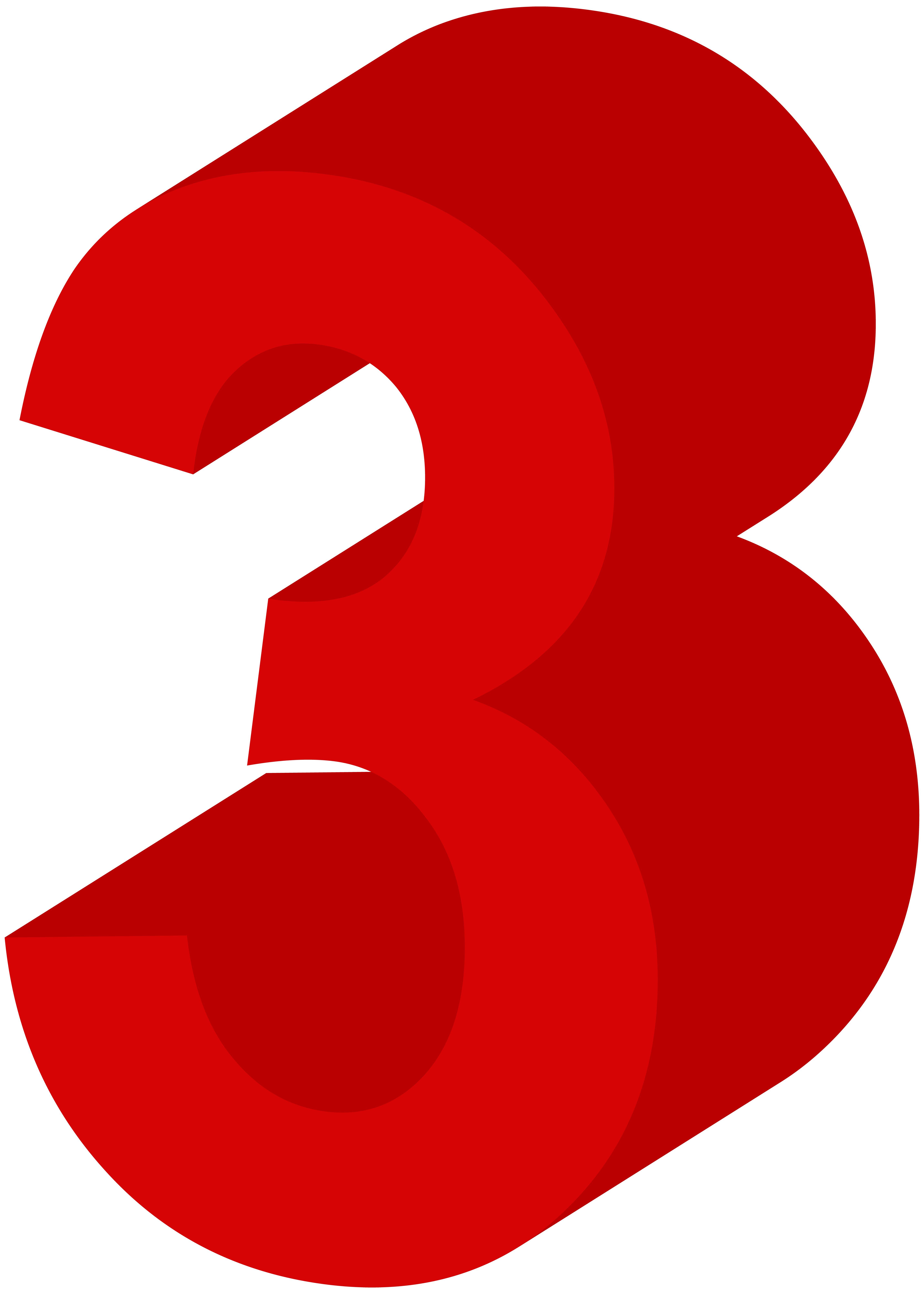 number three red png clip art image [ 5715 x 8000 Pixel ]