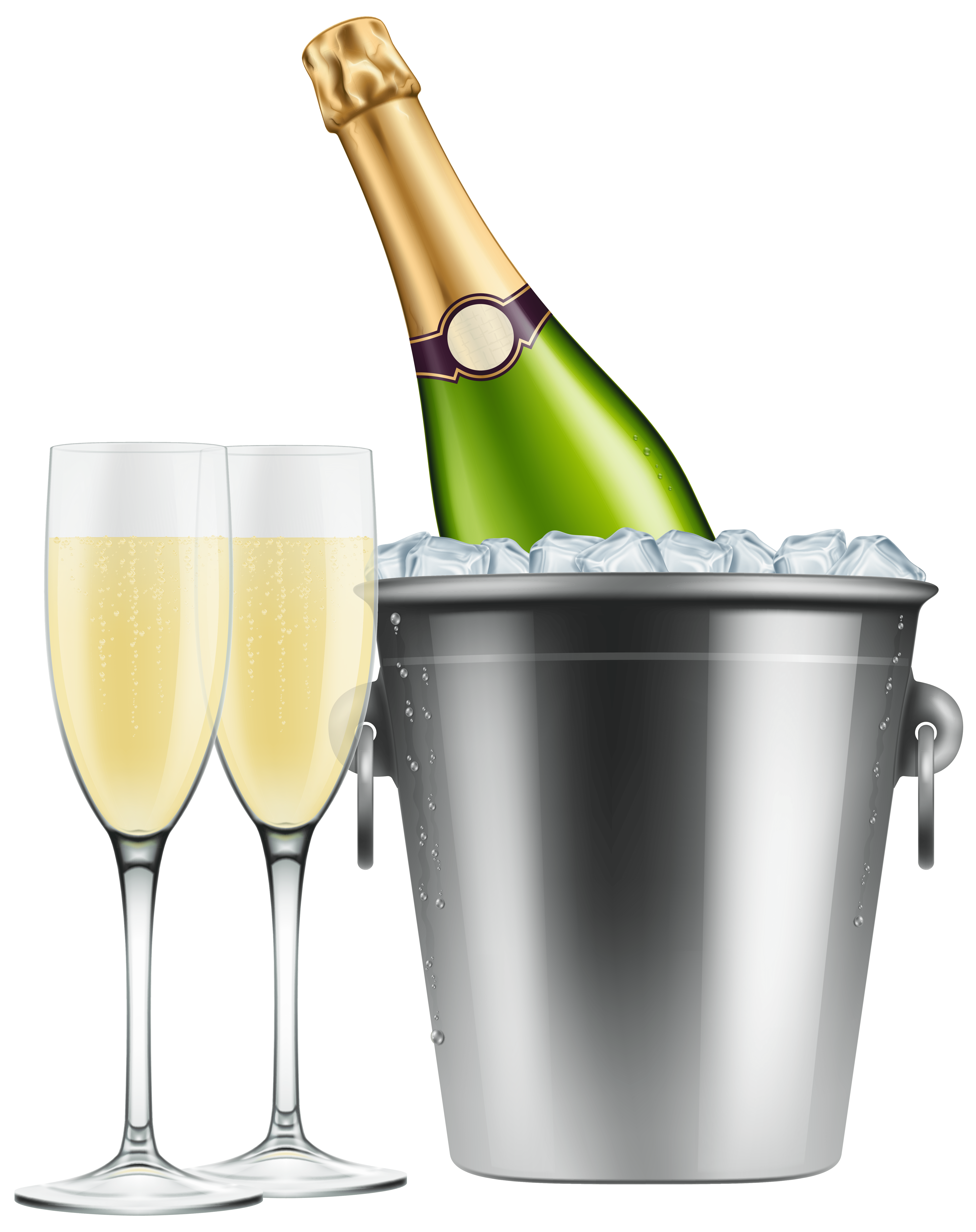 hight resolution of champagne in ice and glasses png clip art image