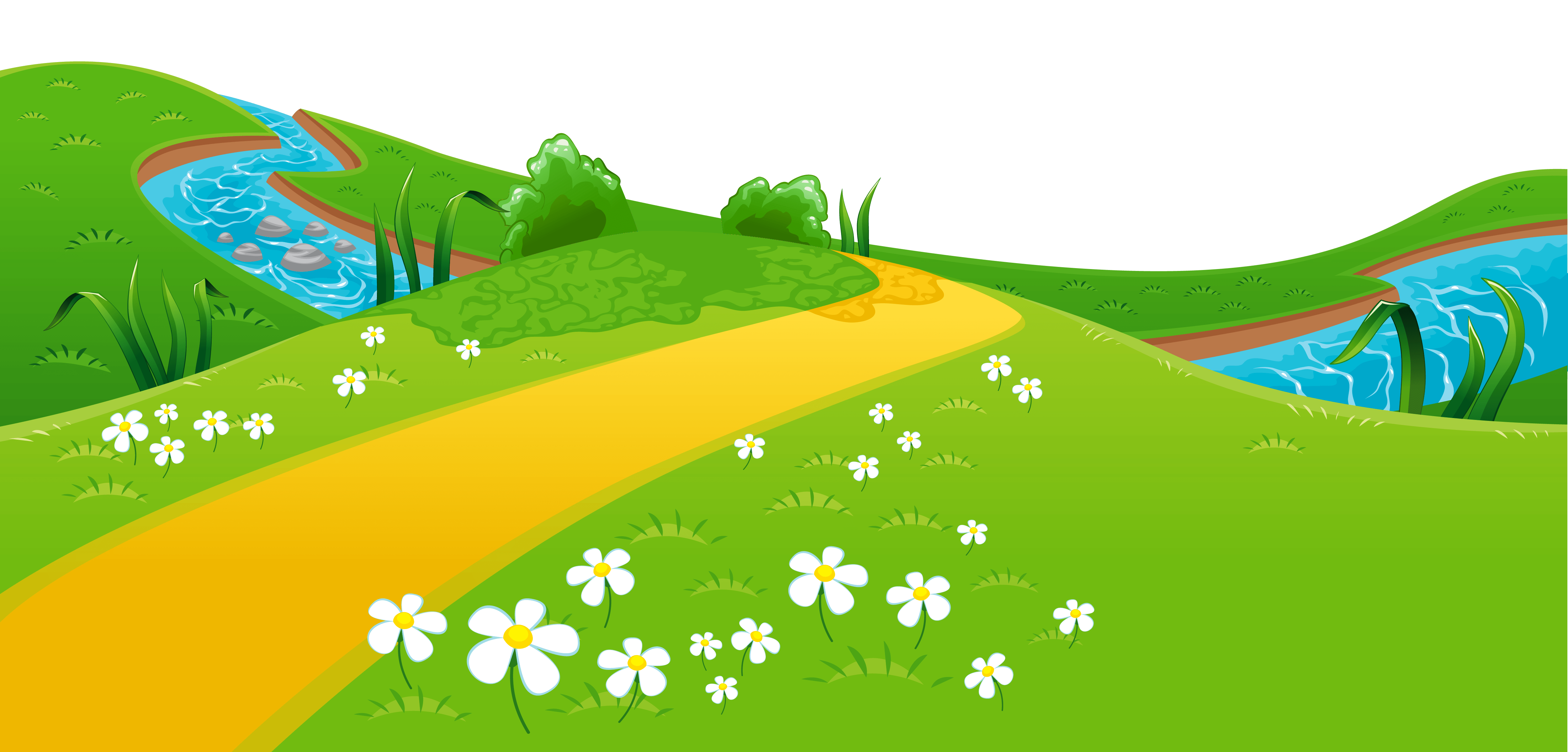 meadow and river ground clipart