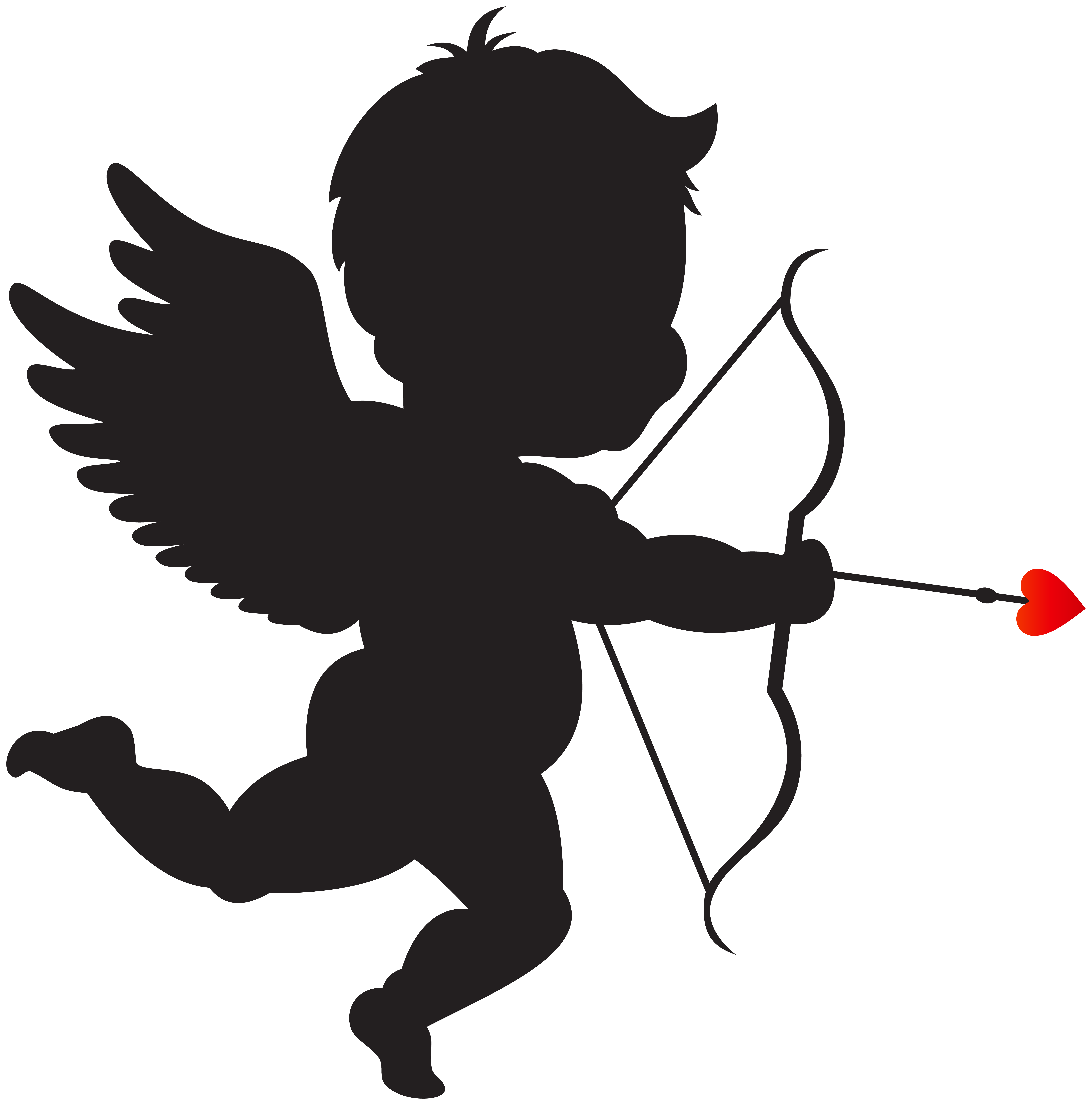 medium resolution of cupid with bow silhouette png clip art image