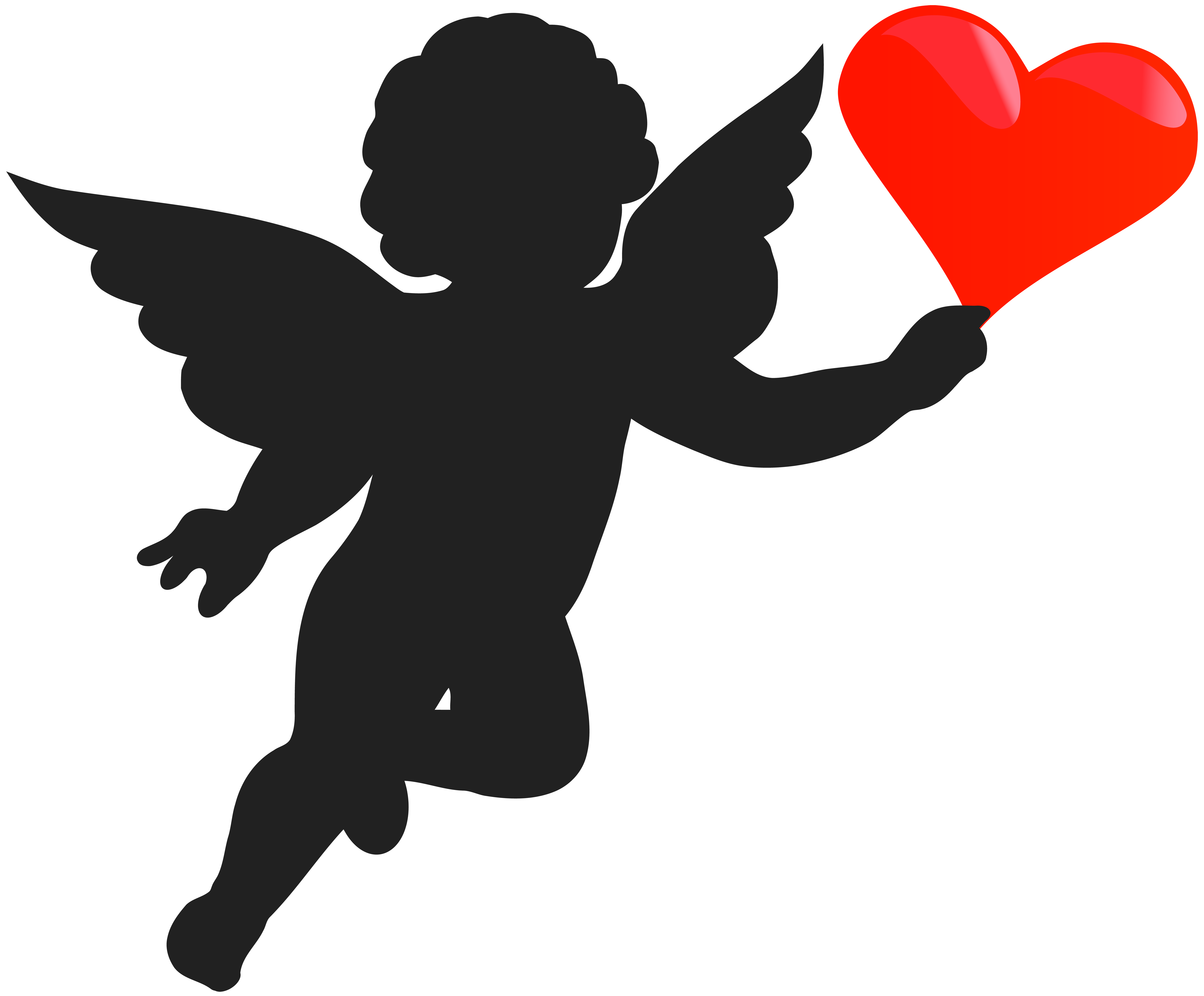 cupid with heart silhouette png clip art image [ 8000 x 6619 Pixel ]