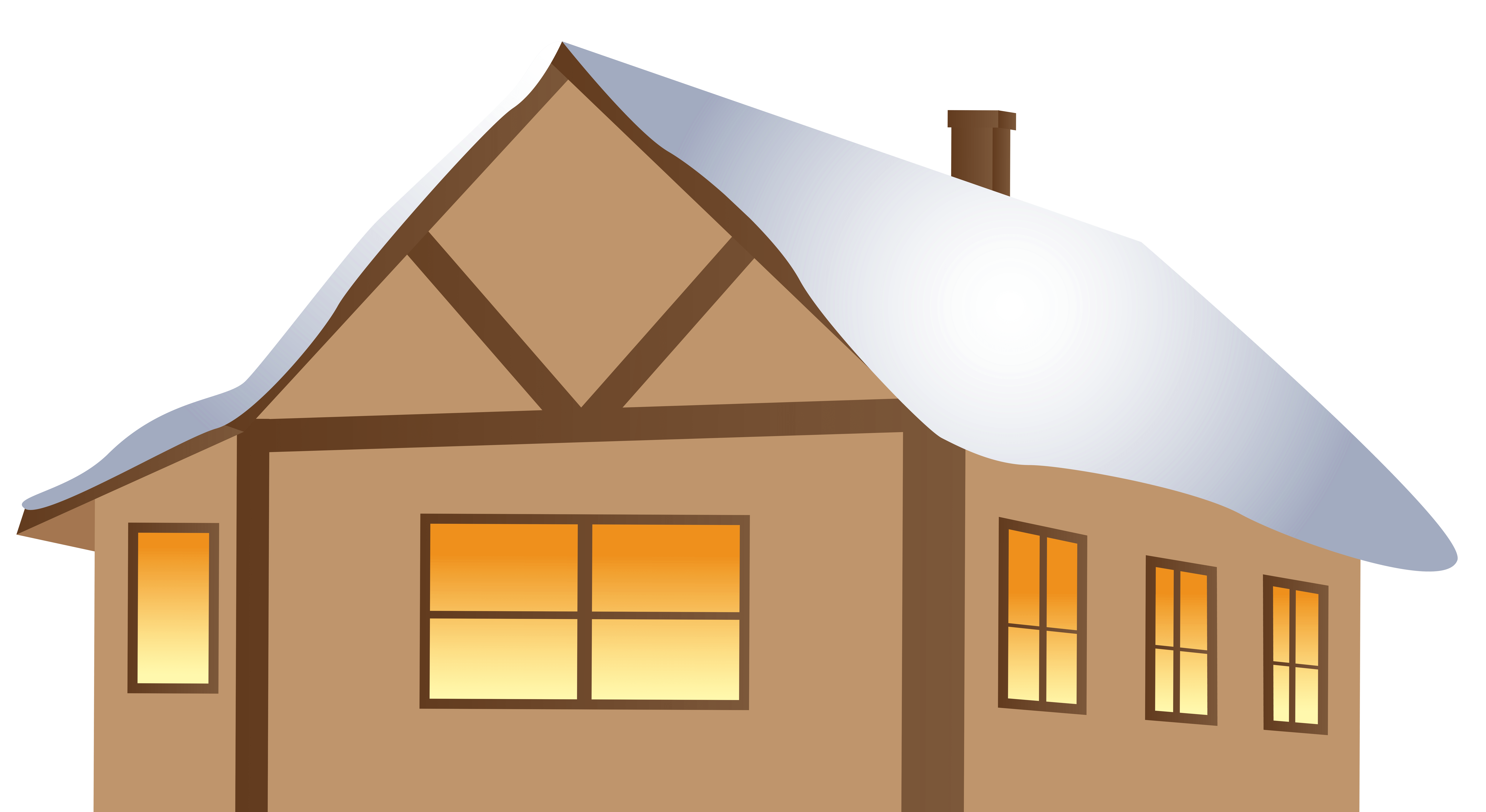 Winter Brown House Clipart - High-quality And