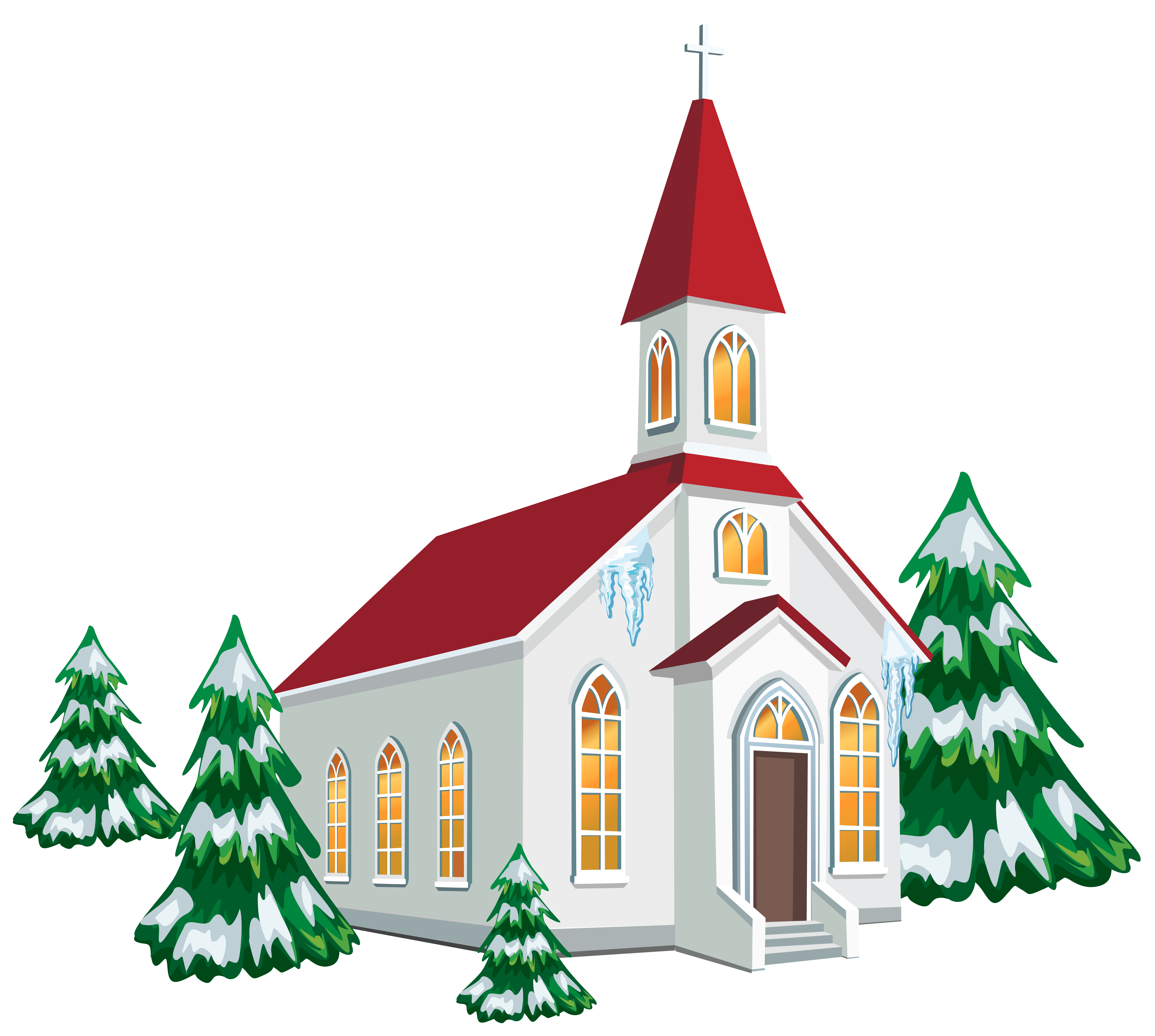 winter church with snow trees png clipart image [ 7025 x 6302 Pixel ]
