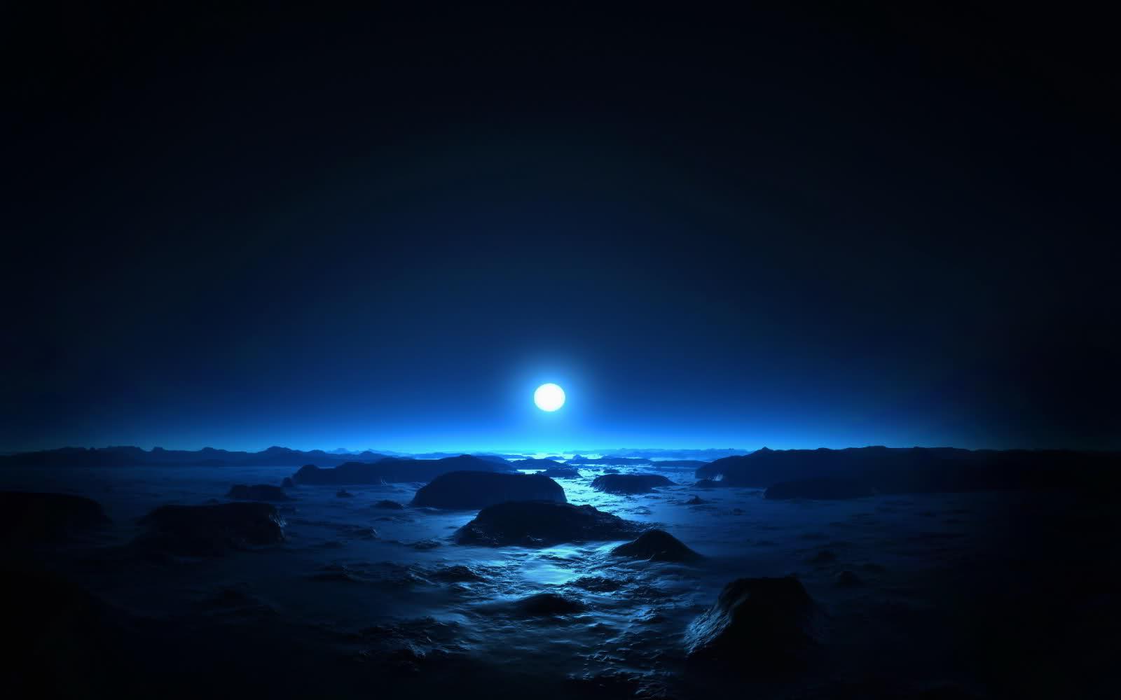 Dark Moon In Sky - High-quality