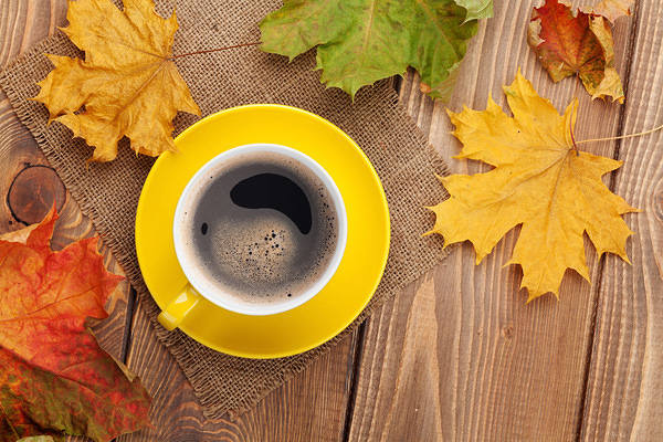 Fall Sunflowers Wallpaper Fall Background With Leaves And Cup Of Coffee Gallery