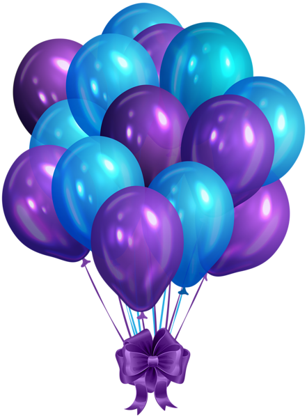 blue purple bunch of balloons clip