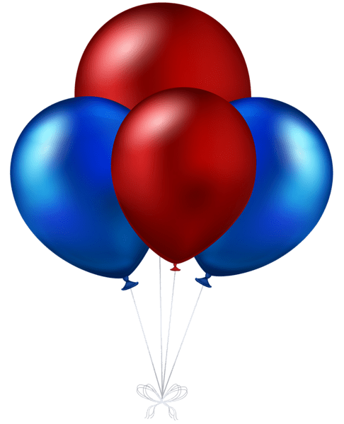 red and blue balloons transparent