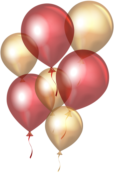 transparent red gold balloons