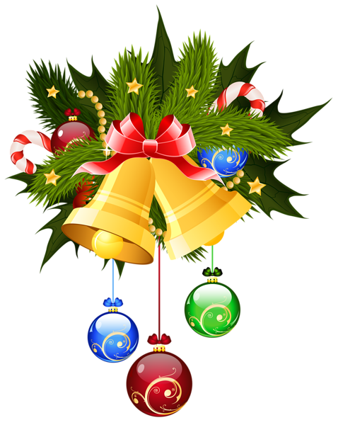 christmas bells and ornaments transparent