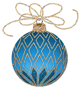 christmas blue and gold ornament