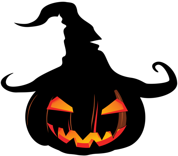 scary pumpkin with witch hat