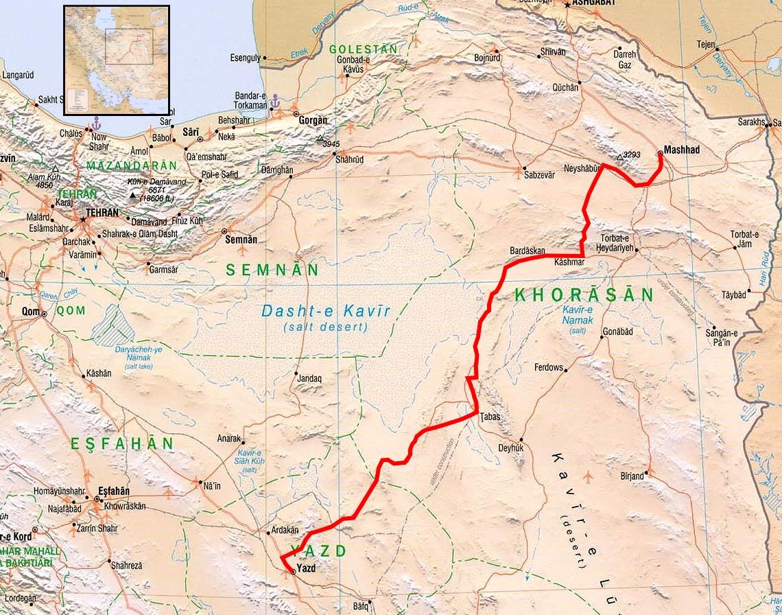 Map Yazd to Mashhad TravellingTwo Bicycle Touring Around The World