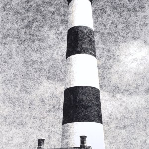 The Bodie Island Light Station has stood sentinel near Nags Head NC since 1872. B&W handcrafted alternative process photograph (original silver emulsion print from paper negative). © WJ Eastman Offered by GALLERY5X7.