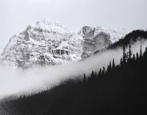 """Morning fog settles into mountain valley in the Canadian Rocky Mountains. B&W handcrafted alternative process photograph (original silver emulsion print from paper negative). """"Rockies Valley Fog"""" © WJ Eastman. Offered by GALLERY5X7."""