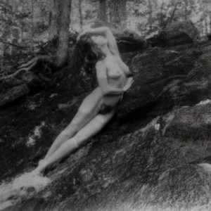 """""""Kelsey, Falls Figure"""" © David Aimone. Approx. 7.5"""" x 10.5"""" handcrafted bromoil print on Ilford MG Classic. Signed single edition print offered by GALLERY5X7 at $375."""