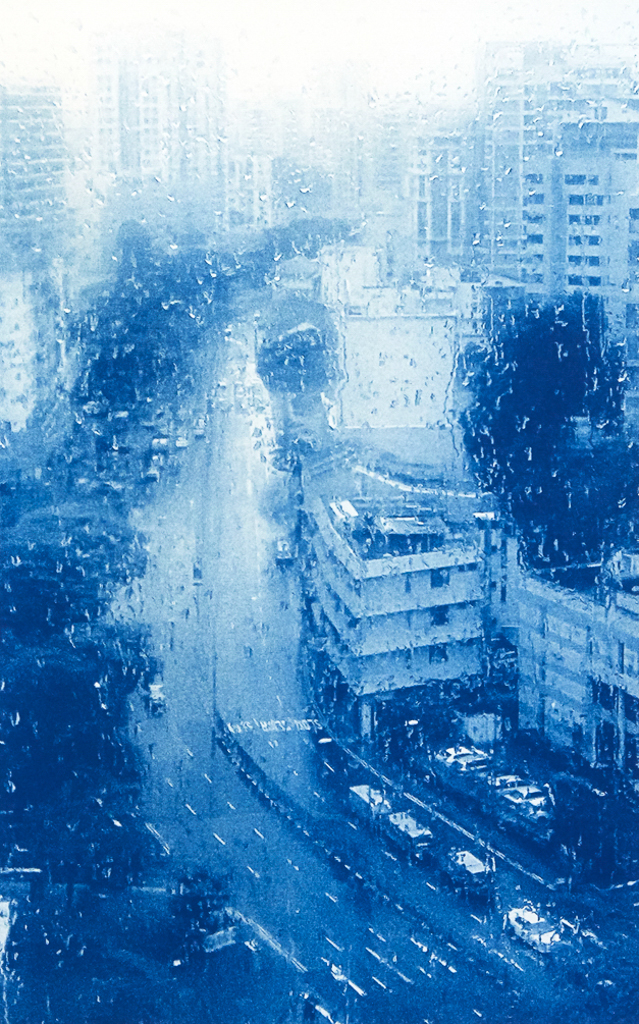 """""""Abundance"""" © Richard Kynast. """"Overlooking Singapore Main Street in the rain."""" Approx 17 x 25cm / 6.5x10"""" on 11x14"""" on Bergger COT320. B&W handcrafted alternative process photograph (original traditional formula cyanotype from a digital negative). Print is signed and numbered 3/10, offered by GALLERY5X7 at $500."""