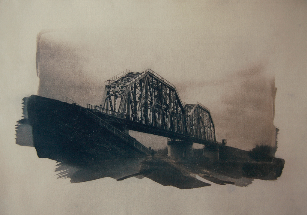 """""""The Last Bridge 1"""" © Anna Melnikova. Approx. 11x15"""" (28x38cm) handcrafted alternative process photograph (original cyanotype print, double toning on Fabriano Artistico paper from a digital negative). Offered by GALLERY5X7 as a single print at $400, tryptich series (1, 2 and 3) at $1,000."""
