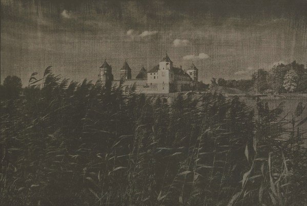 """""""Mir Castle, Belarus"""" © Victor Senkov. """"View to the Mir Castle Complex, a UNESCO World Heritage site in Belarus."""" Approx. 7.7x11"""" (19.5x28.5cm) handcrafted alternative process photograph (cyanotype, toned). GALLERY5X7 offers this signed, numbered and stamped original artist print at $250."""