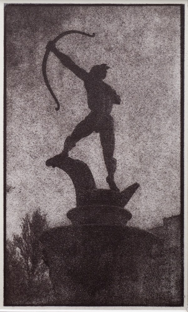 """""""Apollo"""" © Alan Glover. Approx 8x4.75"""" handcrafted gum bichromate print from a single negative using watercolour pigments on Hahnemuhle Platinum Rag paper. GALLERY5X7 offers this original print, signed on the mount (mount size 12x8.25""""), at $250."""
