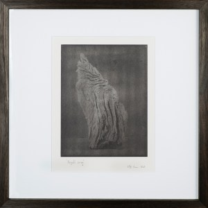 """""""Angels Wing 2"""" © Mat Hughes. Approx. 7x9.5"""" (18x24cm) handcrafted warm-toned silver gelatin tree bark still-life study from scanned large format 4x5 negative. Printed on fibre paper and bonded on 16x16"""" (40.5x40.5cm) Forex foamboard ready for framing. Edition of 3 unique, signed prints."""