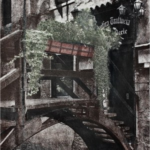 """""""Taverna in Venice"""" © Daniel Zilbersheid. Approx. 22x30"""" (55.9x79.2cm) handcrafted hand-colored alternative process photograph (gumoil). GALLERY5X7 offers this signed, original print at $1200."""