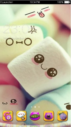 c launcher themes Marshmallow Candy Face Theme