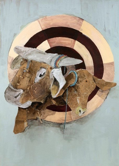 Wallen Mapondera, Target, 2013, Mixed media on paper, 70 x 50 cm
