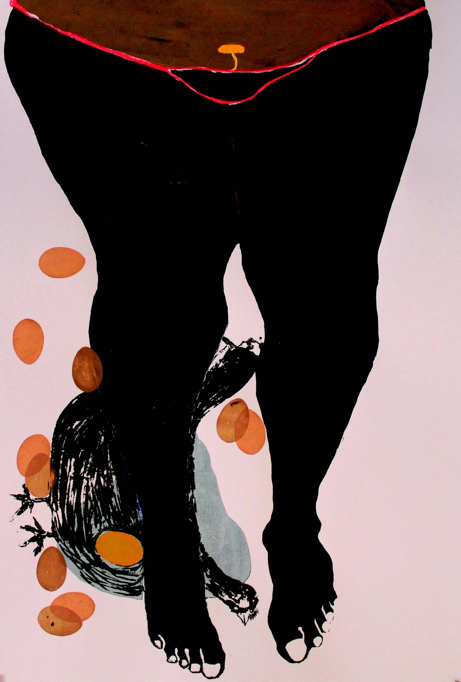 Virginia Chihota, Kurera Hupenyu Mukusaziva, 2013 Serigraph and drawing on paper 100 x 70cm