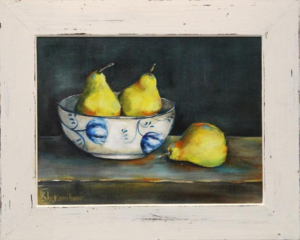 Kareni Bester framed bowl with 3 pears