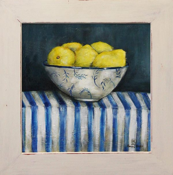Kareni Bester framed bowl with fruit with blue and white table