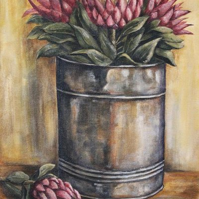 Kareni Bester bucket with proteas
