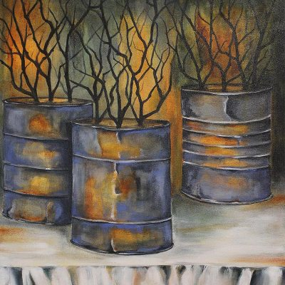 Kareni Bester dried branches in tins